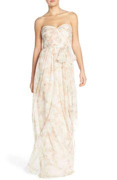 62b28d4d087e11 Main Image - Jenny Yoo  Nyla  Floral Print Convertible Strapless Chiffon  Gown Alternatieve Trouwjurken