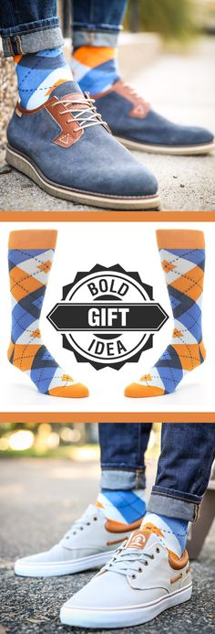 Socks are a sure thing for the holidays. If you have someone with a bold personality consider some statement orange and blue argyle socks. Shop these socks and more. c/o Wolverine Worldwide and Radii - Men Socks - Ideas of Men Socks Funky Socks, Colorful Socks, My Socks, Cool Socks, New Fashion Clothes, Fashion Socks, Mens Fashion, Fashion Outfits, Plaid Outfits