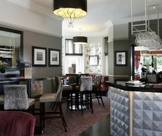 Our stunning Silver Sculpture pendant in the bar of Macdonald Berystede Hotel & Spa