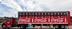 Coca-Cola is very well-known for their creative marketing strategies, and this picture just further supports that point. Coca Cola Ad, Pepsi, Coke, Coca Cola Merchandise, Semi Trailer, Commercial Vehicle, Car Wrap, Amazing Cars, Advertising