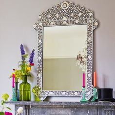 Grey & Mother of Pearl Inlay Floral Mirror - View All Mirrors - Mirrors