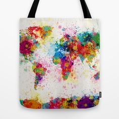 Society 6 - Map Of The World Map Paint Splashes Tote Bag by ArtPause Paint Splash, Color Splash, World Map Painting, Presidents Day Sale, Map Globe, Vintage Boutique, Dot And Bo, Fabric Painting, In Kindergarten
