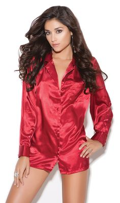 576588b3eda Charmeuse Satin Long Sleeve Sleep Shirt. Lingerie SleepwearNightwearLingerie  SetsCheap ...
