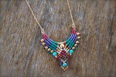 macrame necklace tribal pendant boho necklace red and gold Collar Macrame, Macrame Colar, Macrame Earrings, Macrame Bracelets, Macrame Jewelry, Boho Necklace, Boho Jewelry, Jewelry Crafts, Handmade Jewelry