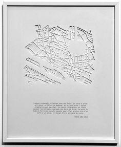 Now THAT'S a reason to learn laser cutting armelle caron - les villes en creux Graphic Design Tools, Map Design, Tool Design, Process Chart, Information Visualization, Armelle, Paris Map, City Maps, Map Art