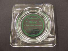 Vintage Clear Glass Square Johnson's Motel Cheboygan Michigan souvenir Ashtray