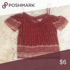 Forever 21 cold shoulder crop top Good condition wore a few times . Rust color  print and crochet at the neckline Tops