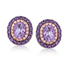 6.25 ct. t.w. Pink and Purple Amethyst Earrings in 14kt Rose Gold Over Sterling