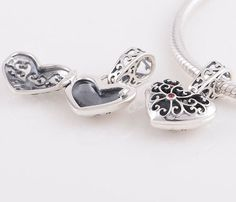 Sterling silver Charm Vintage heart Bead For European by charms925