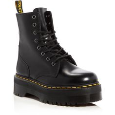 Dr. Martens Jadon Platform Booties (€160) ❤ liked on Polyvore featuring shoes, boots, ankle booties, black, black army boots, black leather ankle booties, platform booties, military combat boots and black leather boots