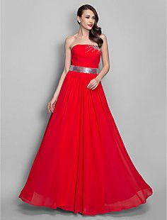 A-line/Princess Strapless Floor-length Chiffon Evening/Prom ... – USD $ 149.99