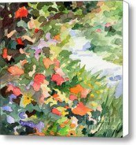Path Monets Garden Watercolor Paintings of France Canvas Print / Canvas Art - Artist Beverly Brow...