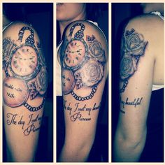 My tattoo for my little girl, the clock indicates the time she was born. Timepiece and roses