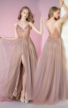 Spaghetti Pink Beading Long Prom Party Dresses ML12085 by moonlight, $154.44 USD