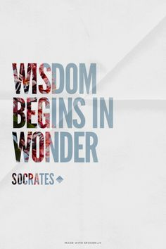 Wisdom begins in wonder - Socrates