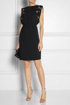 Miu Miu|Embellished open-back crepe dress|NET-A-PORTER.COM