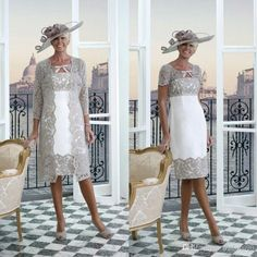 2019 Eleagnt Plus Size Mother of The Bride Dresses with Lace Jacket Tea Length Short Sleeves Wedding Guest Dresses Mother Of Bride Outfits, Mother Of Groom Dresses, Mothers Dresses, Mother Of The Bride, Wedding Guest Gowns, Wedding Suits, Bridal Dresses, Bridesmaid Dresses, Lace Wedding