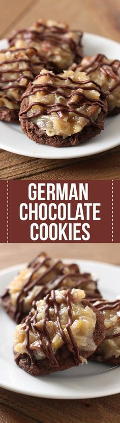 German Chocolate Cookies feature a homemade ultra soft, chewy, and gooey double chocolate cookie loaded with a flavorful coconut pecan topping. Amazing! #homemaderecipe