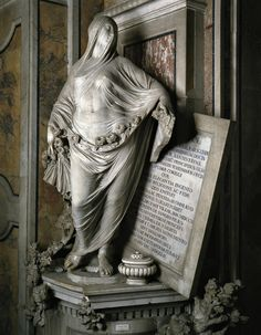 """""""La Pudizia (Veiled Truth or Modesty)"""" in 1749-52 by Antonio Corradini (Venezia 1668 - Napoli 1752). Marble (Height 195cm). Cappella Sansevero, church of San Domenico Maggiore, Napoli. Venetian Rococo sculptor. The work is a tomb monument dedicated to Cecilia Gaetani, mother of Raimondo de Sangro (Italian nobleman, inventor, soldier, writer and scientist, remembered for his reconstruction of the Chapel). Technically inspired. His bas-reliefs, in a very pictorial style, are extremely…"""