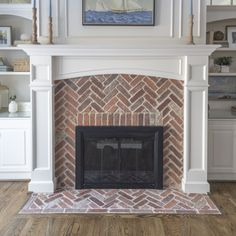 New Cost-Free Brick Fireplace surround Popular Brick herringbone fireplace surround // via Laurie Champ Design Fireplace Remodel, Cape Cod Kitchen Remodel, Herringbone Fireplace, Remodel, Brick Hearth, Brick, Fireplace Surrounds, Fireplace, Brick Tiles