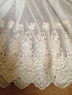 ivory fabric lace, retro floral lace fabric, embroidery lace fabric, vintage lace fabric, scalloped trim lace on Etsy, 4 543,18 Ft