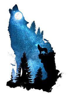 designstudio dverissimo wolf dog howling wind howl night space stars moon moonlight silhouette animal animalia forest wild rock cliff digital nature illustration photo sky landscape Source by adrilblackwolf Wolf Tattoos, Nature Tattoos, Side Tattoos, Wolf Silhouette, Fantasy Kunst, Dark Fantasy Art, Animal Drawings, Cute Drawings, Vintage Tattoo Design