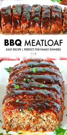 Easy BBQ Meatloaf Recipe An easy, oven-baked BBQ Meatloaf recipe! Tender, juicy ground beef is loaded with savory, smoky flavor and topped off with a sticky-sweet BBQ Sauce glaze! Meatloaf Recipe Bbq Sauce, Classic Meatloaf Recipe, Meat Loaf Recipe Easy, Barbecue Meatloaf Recipes, Meatloaf Glaze, Homemade Meatloaf, Best Meatloaf, Barbacoa, Sauce Barbecue
