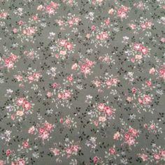 Tissu Petits Bouquets de Roses sur fond Vert Olive Chez entrez-sans-frapper-deco