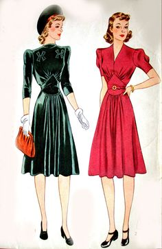 1940s Simplicity Sewing Pattern NIPPED Waist PUFFY Sleeve V Neck or High Neck Dress //  Pattern No 3516