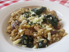 The cover star recipe - wonderful, hearty mushroom, leek and barley risotto with deeply savoury cavolo nero cabbage and a sprinkling of mature cheese. A dish of deliciousness.
