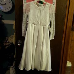 Kids Girls First Communion Gown White First Communion Gown with a small lace Jacket to go over the sleeveless arms Only wore 1 time. Make me an offer Bonnie Jean Dresses