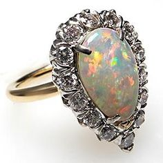 Vintage Tiffany & Co Natural Opal & Diamond Cocktail Ring Solid 14k Gold