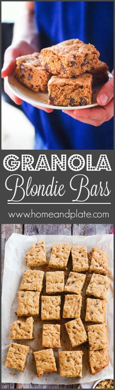 Granola Blondie Bars | www.homeandplate.com | Delicious, chewy Blondies loaded with oats, honey and almonds and topped with chocolate chips are the perfect treat for the holidays. #ad #SimplySatisfying