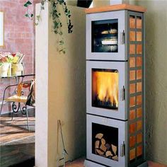 Woodstove with oven and wood storage...great for a fire to sit around in the living room...or for when the power is out...