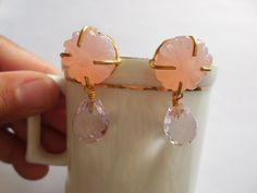 Chalcedony Drop Earring-Pink Stud Earring-Hand carved Dangle-Jewelry-Gold plated #Unbranded #DropDangle