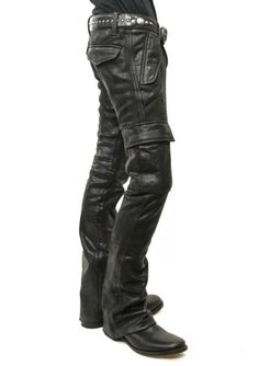 Image result for black leather cargo pants