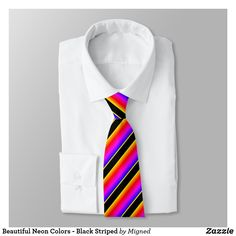 Stripes - Teal Green Blue Neck Tie - diy cyo customize create your own personalize Coral Tie, Coral Turquoise, Teal Green, Pink Blue, Orange Pink, Aqua, Color Stripes, Neon Colors, Black Stripes