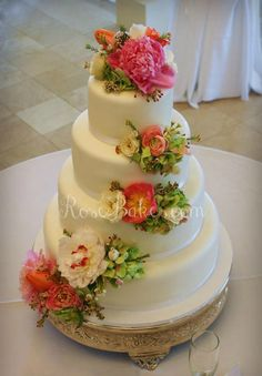 Fresh Flowers White Wedding Cake...this one takes the cake!!! So beautiful!!!