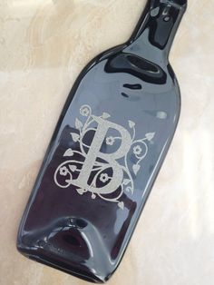 Personalized Monogram, Initial Slumped Melted Flattened Flat Wine Bottle Cheese Tray Spoon Rest Glass Plate Eco Gift on Etsy, $29.99