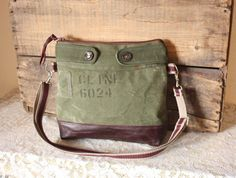 Crossbody Canvas Olive Purse messenger/ crossover handbag/ Upcycled Army bag & leather trim /- Ready to Ship--Save10% w/ Coupon Code SAVE10