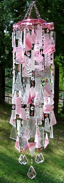 Special K Wind Chimes -My Pink Heaven - stained glass, OOAK window art
