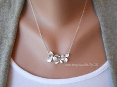 Triple Orchid Necklace in Silver - Perfect Gift - Dainty Flower Pendant Suspended on Sterling Silver Chain - morganprather