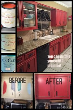 DIY RED Painted Kitchen Cabinets by Tracey's Fancy. It's easy to give your kitchen a makeover with painted cabinets using Heirloom Traditions' chalk type paints | DIY Cabinets
