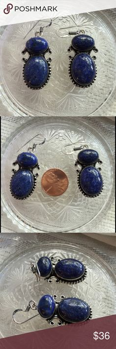 Lapis lazuli earrings. Ask for discount NWOT Sterling silver and lapis lazuli gemstone earrings. Irregularities are to be expected with natural gemstones. Jewelry Earrings
