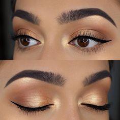 Gold eye makeup for brown eyes - - Gold eye makeup for brown eyes Playing with Makeup Gold Augen Make-up für braune Augen Gold Eye Makeup, Natural Eye Makeup, Eye Makeup Tips, Makeup Eyeshadow, Makeup Products, Drugstore Makeup, Brown Eyes Makeup, Makeup Ideas, Gold Makeup Looks