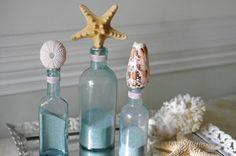 Beach Decor Set of 3 Vintage Aqua Sea Life Bottles with Knobby Starfish, Sea Urchin and Cone Shell  $92