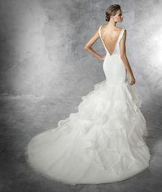 Precious | Bridal | Pronovias | Available at Lulu's Bridal Boutique | Lulu's Bridal | Dallas, Texas | Mermaid | Organza | Tulle | Horse Hair | Ruffles | Tiered | V Neckline | Illusion | Beaded | Low Back | V Back |