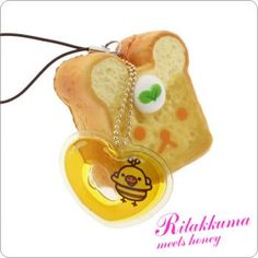 San-X Rilakkuma Squishy Honey Toast Cell Phone Strap <3