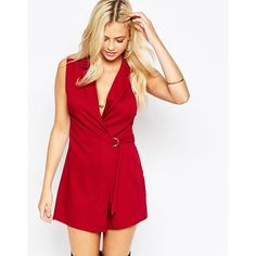 Parisian Wrap Front Romper with D Ring Detail ($33) ❤ liked on Polyvore featuring jumpsuits, rompers, berry, playsuit romper, tall romper, red romper and red rompers