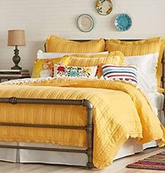 Mix and Match Magic: Bedding by The Pioneer Woman - Hayneedle pioneer woman accessories - Woman Accessories Yellow Comforter, Comforter Sets, King Comforter, Yellow Quilts, Woman Bedroom, Master Bedroom, Kids Bedroom, Guest Bedrooms, Guest Room